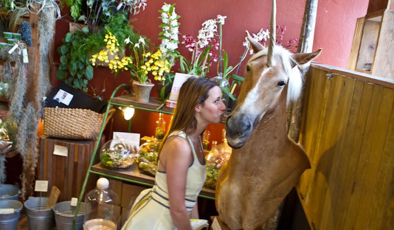 Unicorn Kissing in a Yellow Seersucker Dress