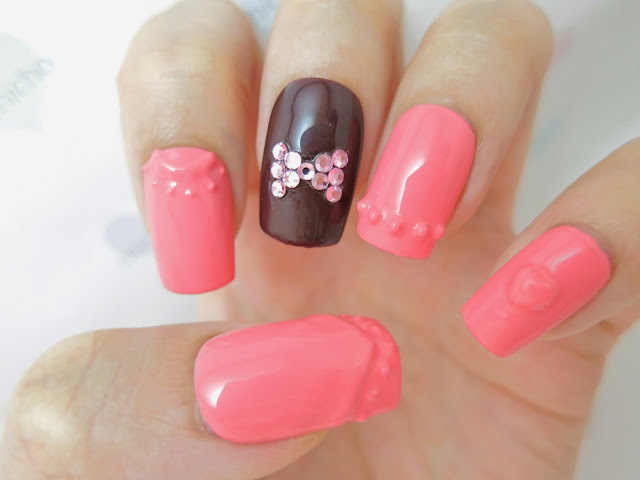 3D Nails with Bling Bow with Gel Polish