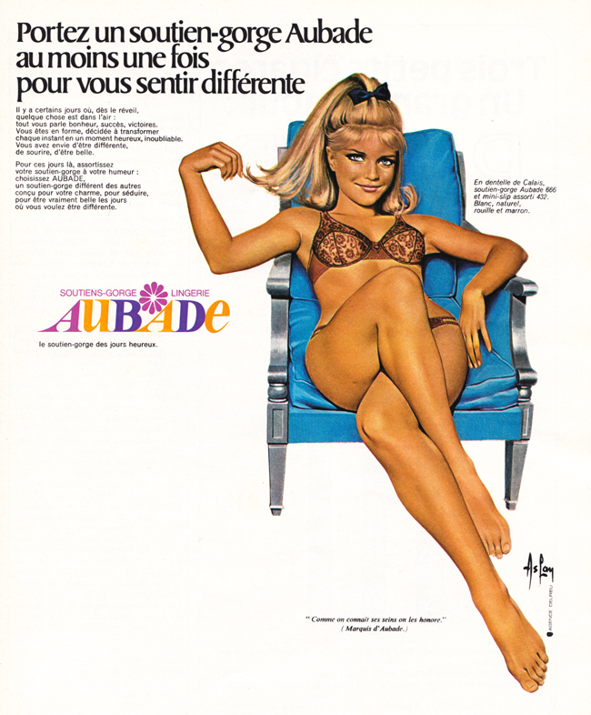 Publicité vintage : AUBADE, le soutien-gorge des jours heureux - Pour vous Madame, pour vous Monsieur, des publicités, illustrations et rédactionnels choisis avec amour dans des publications des années 50, 60 et 70. Popcards Factory vous offre des divertissements de qualité. Vous pouvez également nous retrouver sur www.popcards.fr et www.filmfix.fr   - For you Madame, for you Sir, advertising, illustrations and editorials lovingly selected in publications from the fourties, the sixties and the seventies. Popcards Factory offers quality entertainment. You may also find us on www.popcards.fr and www.filmfix.fr