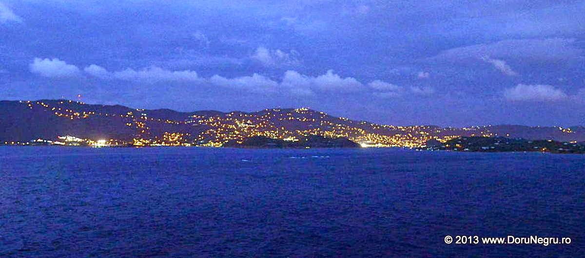 Sailing by the US Virgin Islands at dusk