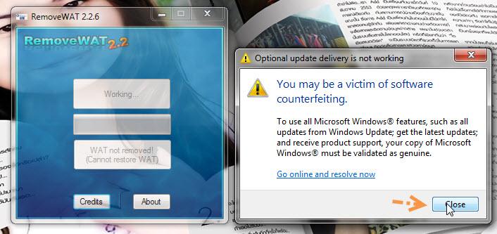 """วิธีแก้ไขเมื่อ Windows 7 เกิดอาการ """"จอดำ"""" RemoveWat007"""