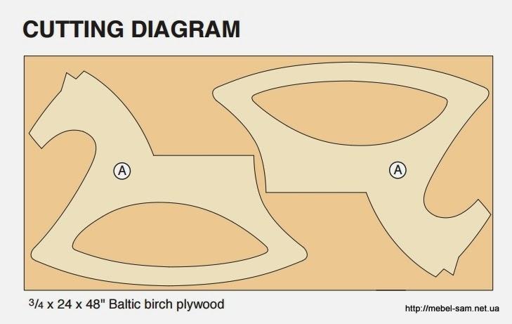 Пример карты кроя деталей фанерной лошадки качалки