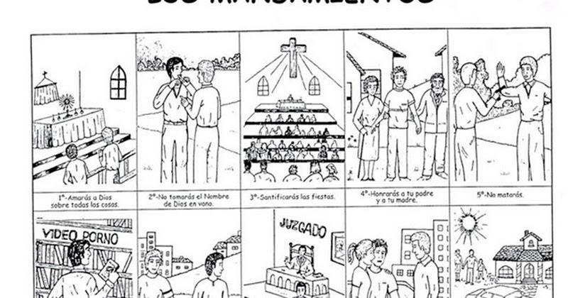 Dibujos Católicos : Los diez mandamientos para colorear