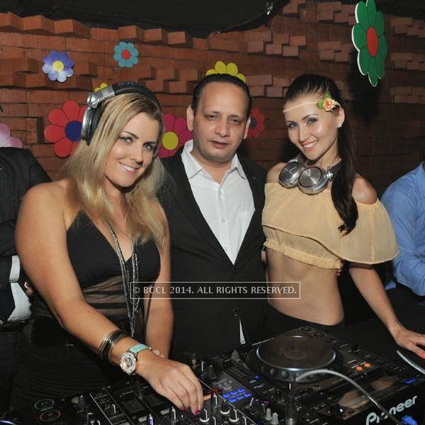 DJ Julia Bliss, Subhash Sinha and DJ Kesha during a DJ party in the city.