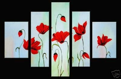 hand-painted oil wall art Bright-coloured red flowers h