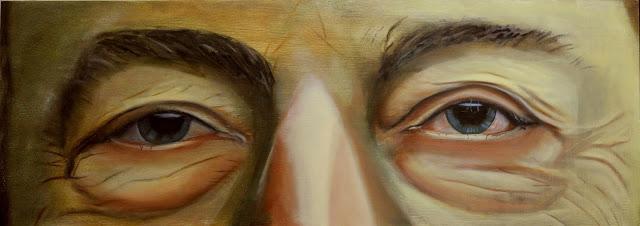 Estudio de una mirada intensa,pintura en oleo de Oscar Jiménez