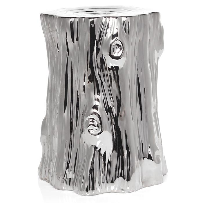 Design Dump Afforadable Find Metallic Stump Side Table - Silver tree stump coffee table