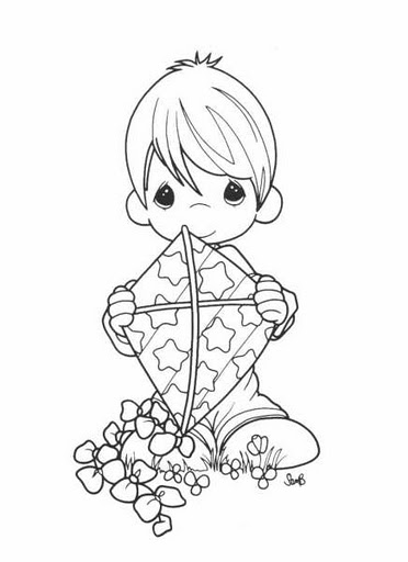 Boy with a kite precious moments coloring pages for Precious moments baby coloring pages