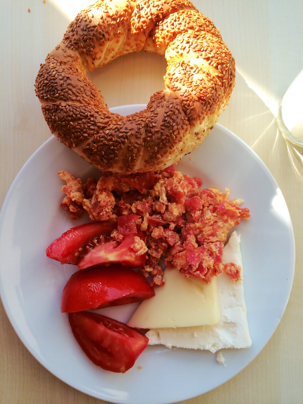 simit cheese turkish breakfast eggs