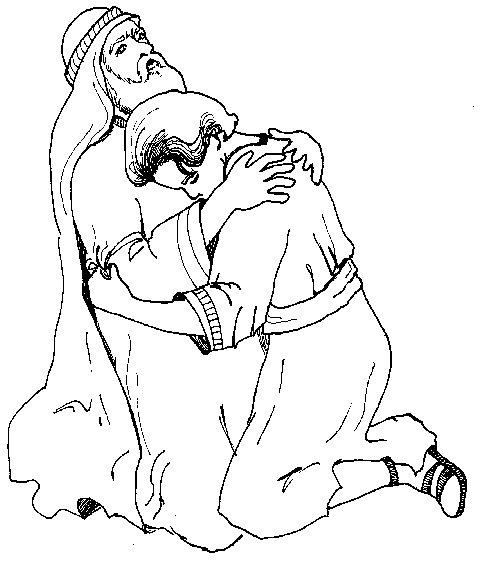 Abraham abraza a Isaac para colorear