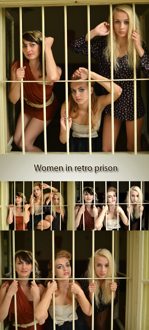 Stock Photo: Women in retro prison