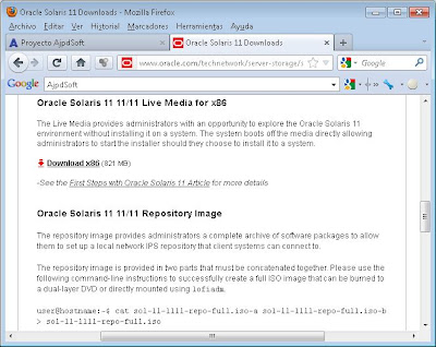Descargar fichero ISO con Oracle Solaris 11 Live Media for x86, preparar DVD y BIOS equipo