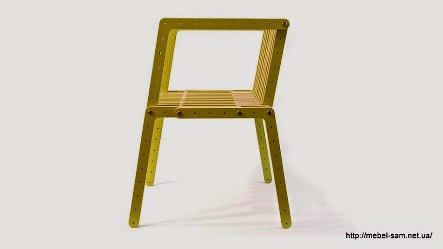 Сборный фанерный стул с подлокотниками вид сбоку