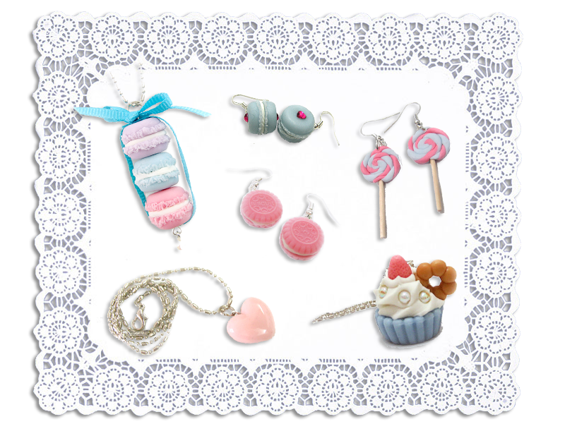 Ai Candies Macaron earrings, Macaron necklace, Cookie earrings, Cupcake necklace, Lollipops earrings, Heart necklace