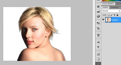 Scarlett Johansson, foto com fundo selecionado