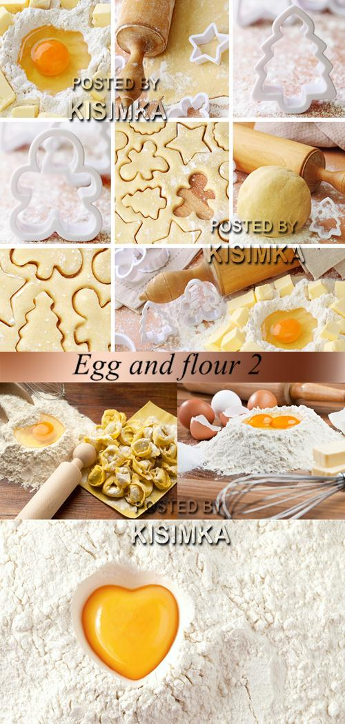 Stock Photo: Egg and flour 2