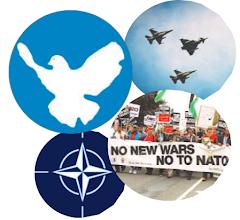 Collage: Rriedenstaube, Kampfflugzeuge, Nato-Logo, Friedensdemonstranten.