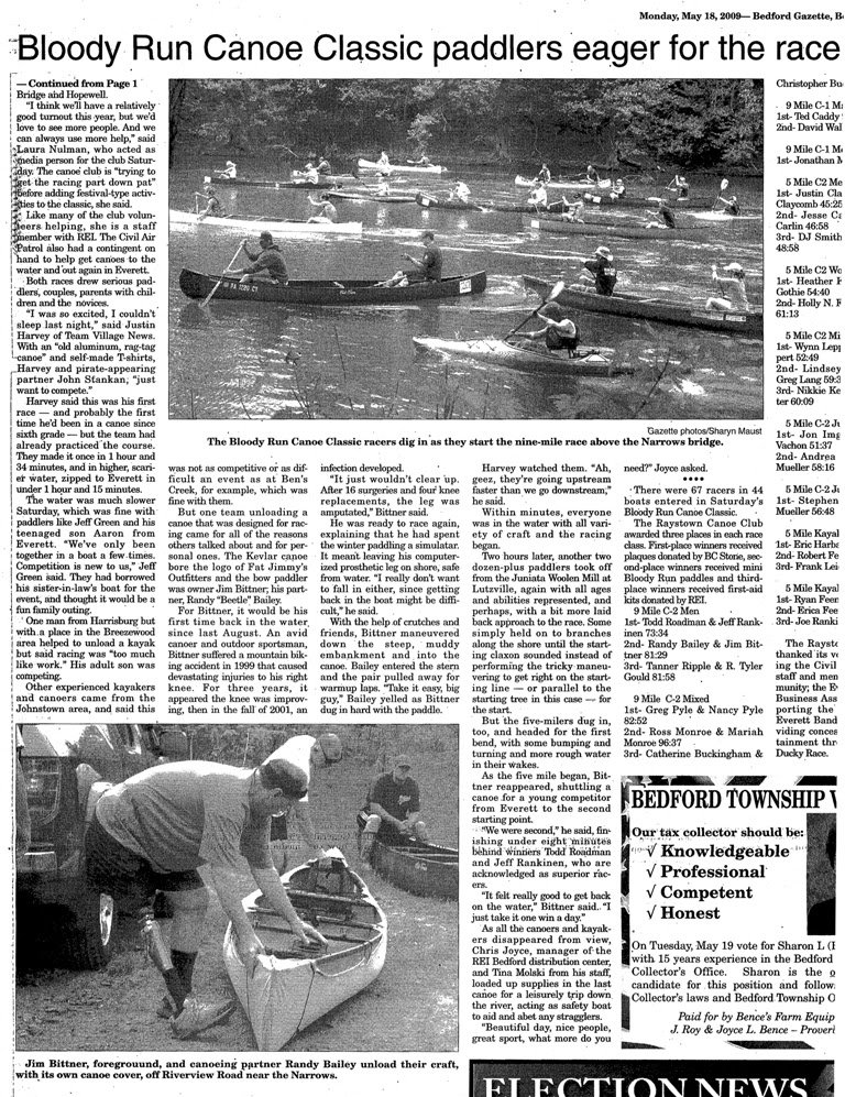 2009 Race Newspaper Recap & Results