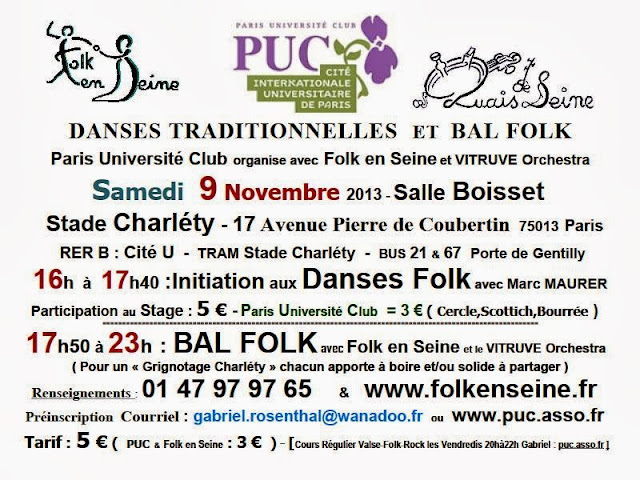 Affiche Bal folk initiation aux <strong>danses traditionnelles</strong> et <strong>bal folk</strong> à Paris