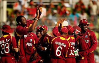 West Indies celebrated after routing Bangladesh for 58 in 18.5 overs, Bangladesh v West Indies, Group B, World Cup 2011, Mirpur, March 4, 2011