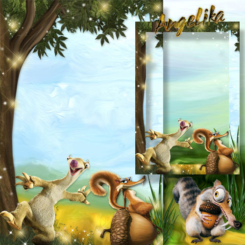 Children's Photoframe with Heroes of Animated Film - The Ice Age, Fight for an Acorn
