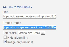 Grabbing Image Links from Picasa Web Albums