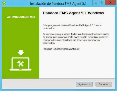 Instalar agente de software Pandora FMS en host con Windows Server 2012