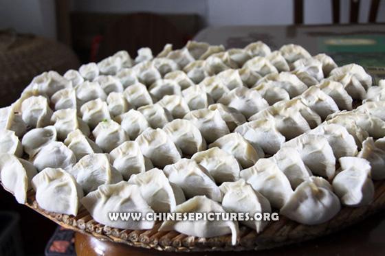 Half-finished Chinese Dumplings Photo