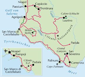 Cilento, Wanderreise, Heideker Reisen, Palinuro, Paestum, San Severino, Calore-Schlucht, Monte Stella, San Severino, Camerota, San Marco di Castellabate, Cilento-Nationalpark