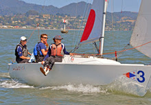 J/22 match racing- Nicole Breault's team sailing San Francisco