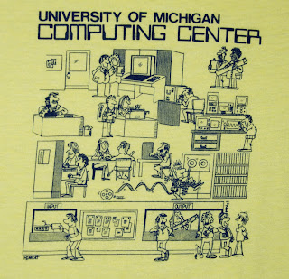 Photo of the drawing on the front of a UM Computing Center T-shirt