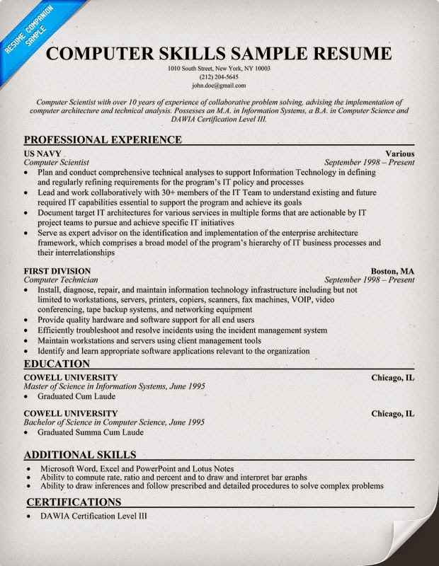 skills resume sample computer  seangarrette cocomputer skills sample resume   skills resume sample