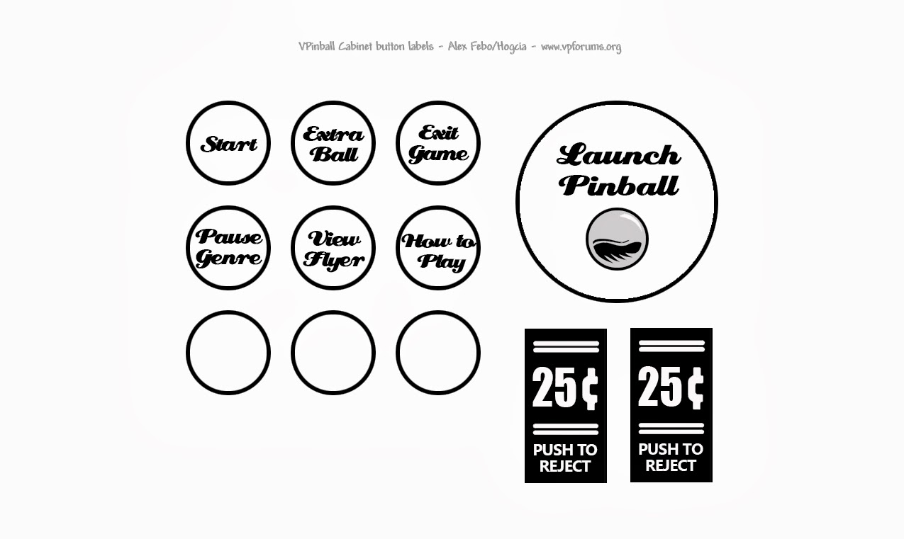 Need Pinball Cabinet Clear button labels, anyone know where