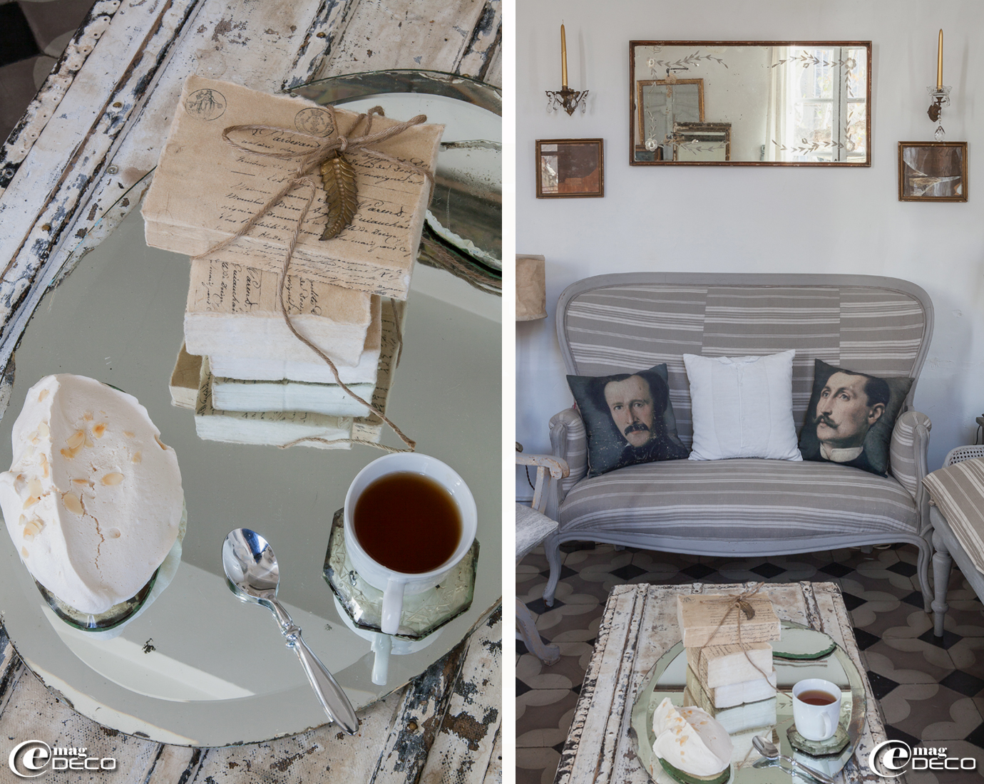 Un vieux miroir biseauté se métamorphose en plateau, collection de livres ficelé 'Borgo delle Tovaglie', coussins 'Vox Populi' boutique 'Clair de Lune' à Uzès