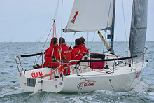 J/80 junior sailors- racing Exess off Cowes at Cowes Week