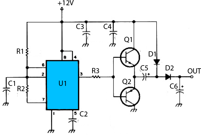 Voltage Doubler With Ne555 Timer Chip on voltage multiplier circuit diagram