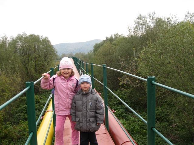 Пешеходный мост через реку Стрый
