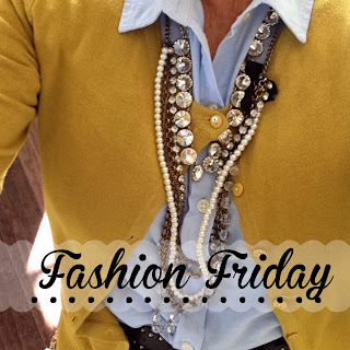 Fashion Friday- Mustard Yellow cardiagan sweater with black skirt