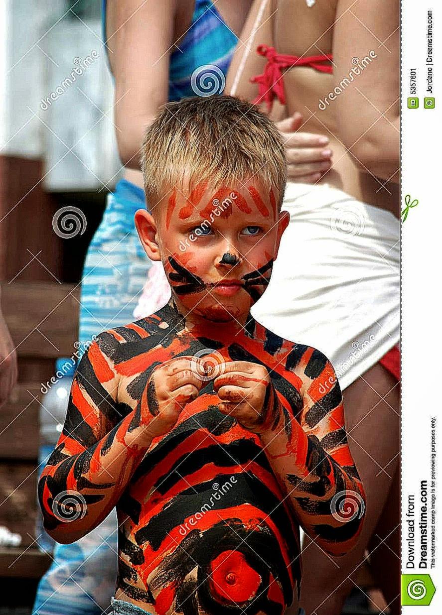 Litle Boy Bodyart Tiger On The Beach Stock Image   Image 5357601