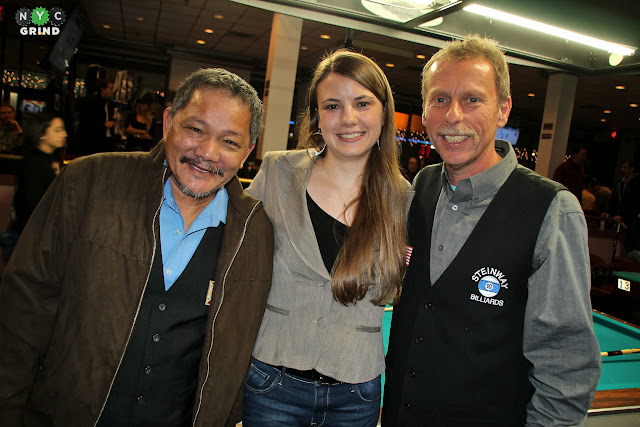 NYC Grind's Alison Fischer with Efren Reyes & Earl Strickland.