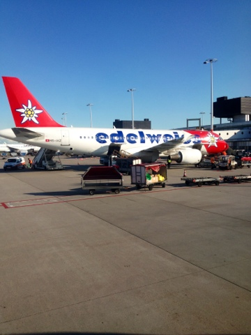 Picture of Edelweiss Air in Amsterdam Schiphol Airport, 25 June 2013.