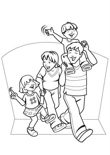 Familia feliz para colorear