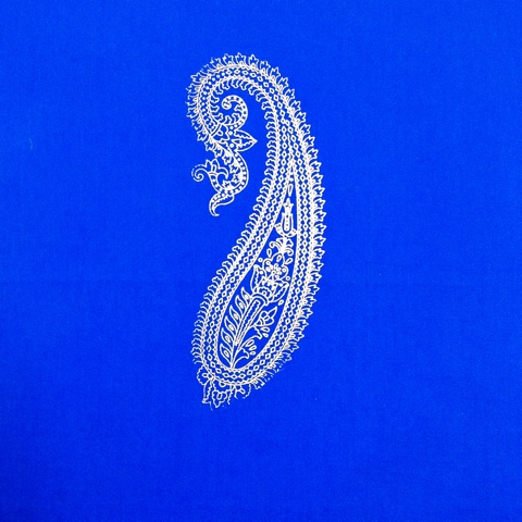 huge paisley block print gold and blue cotton fabric
