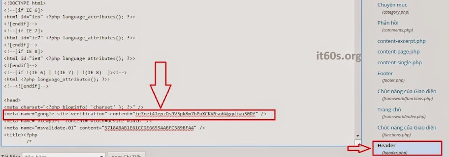 Cách xác minh Website Wordpress trong Webmaster tools 7