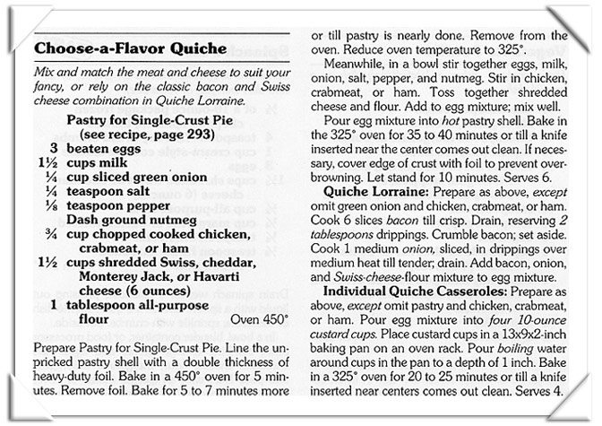 Better Homes And Gardens Choose A Flavor Quiche