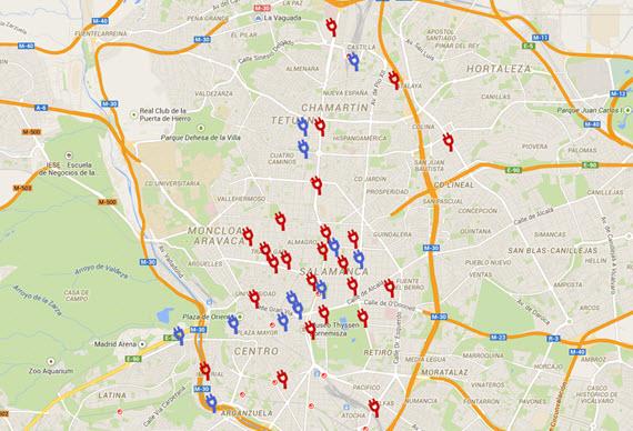 Mapa de los 175 puntos de recarga de vehículos eléctricos en Madrid - marzo 2015