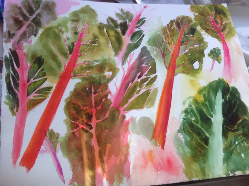 Swiss chard watercolour