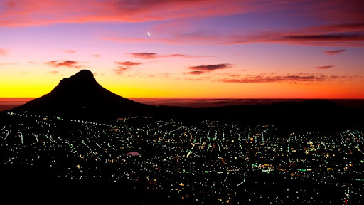 Lion's Head Mountain and Cape Town at Night, South Africa.jpg