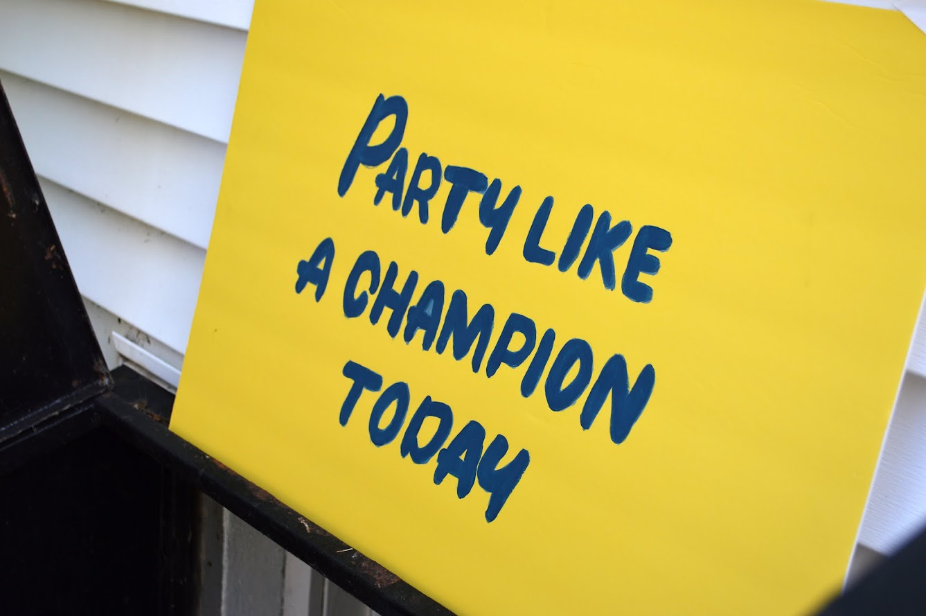 ND sign - party like a champion today