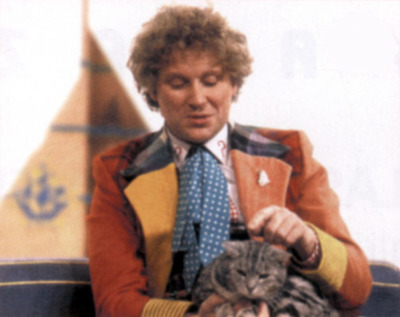 Colin Baker and a cat